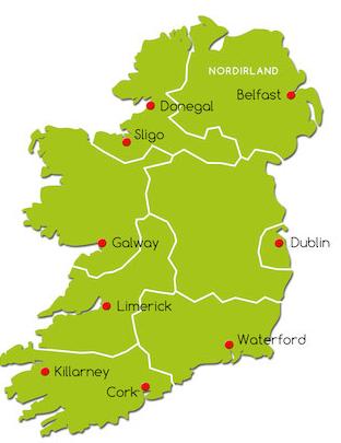irland regionen karte Die Regionen Irlands : Irland Reise.net